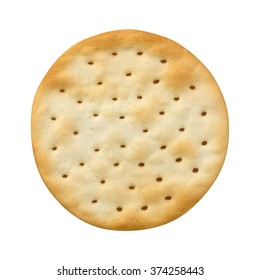Single Round Water Cracker. The image is a cut out, isolated on a white background, with a clipping path.