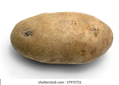 A single russet potato on a white background
