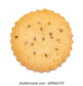 Single Salted Cumin Cookie or Jeera Cookie as we call them in India are ideal for tea time. Little Sweet and Little Salty isolated on White Background