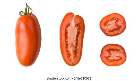 Single San Marzano Tomato raw and sliced isolated