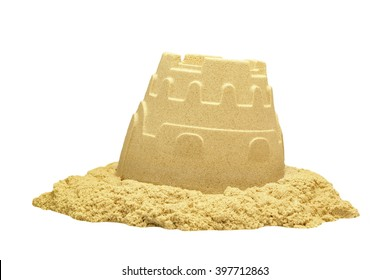 Single Sand Castle Tower Made ofMagic Sand Isolated On White Background, Indoor Or Outdoor Summer Activity, Front View, Close Up, Isolated