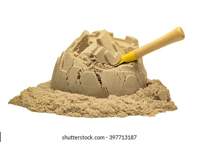 Single Sand Castle Tower Made of Magic Sand Isolated On White Background, Indoor Or Outdoor Summer Activity, Front View, Close Up, Isolated