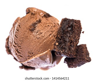 Single scoop of chocolate - brownie ice cream with brownies from above isolated on white background.  Real edible icecream, no artificial ingredients used!