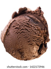 Single scoop of chocolate - brownie ice cream isolated on white background - birds eyes view  real edible icecream, no artificial ingredients used!