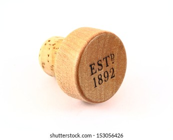 Single scotch bottle cork on white background
