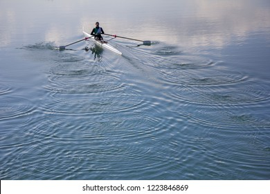 Single scull rowing competitor, rowing race one rower