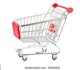 Single shopping trolley isolated on white background