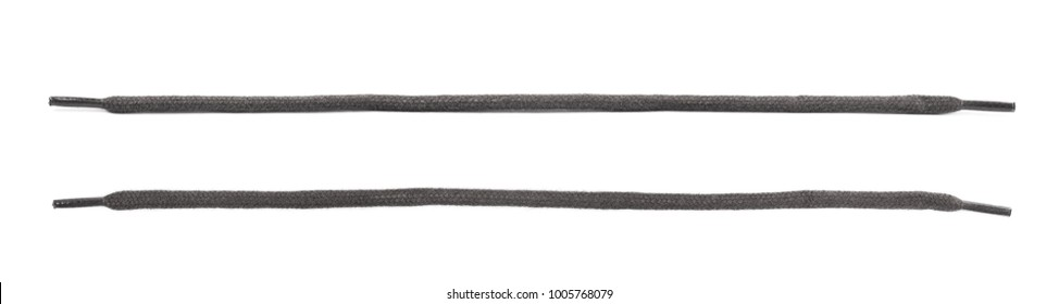 Single short shoelace isolated over the white background