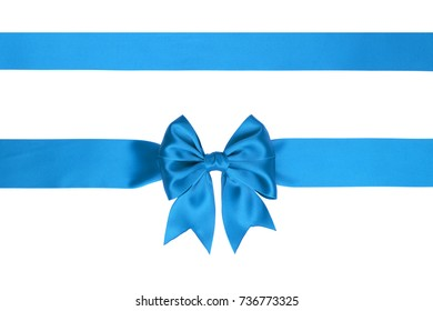 Single sky blue satin gift bow with two ribbons isolated on white