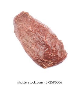 Single slice of beef meat isolated over the white background