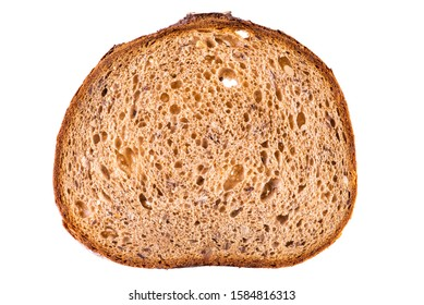 Single slice brown rye breakfast bread with sunflower seed isolated on white background, base for healthy breakfast