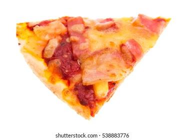 Single slice of Hawaiian pizza isolated over white background