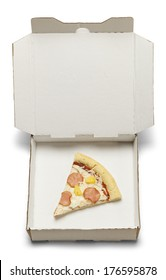 Single Slice of Pizza in White Take Home Box Isolated on White Background.