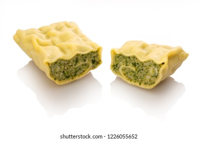 Single sliced swabian dumpling maultasche ravioli white isolated