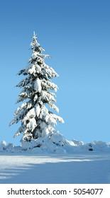 Single snow covered evergreen against a polarized blue sky.