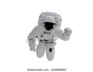Single space Astronaut with black glas on the helmet isolated on white background. Elements of this image were furnished by NASA