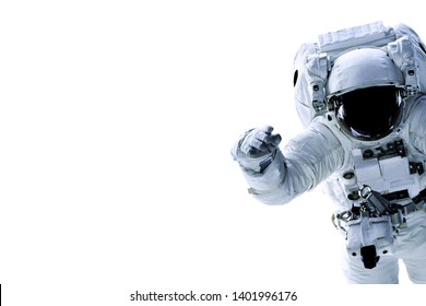 Single space Astronaut with black glas on the helmet isolated on white background with free space in the left part of image. Elements of this image were furnished by NASA