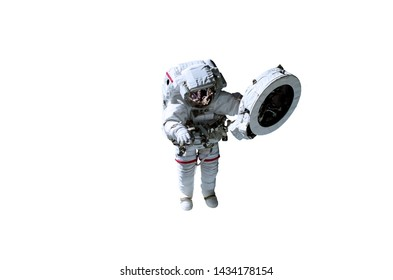 Single space Astronaut in white suit with red lines isolated on white background. Science fiction. Elements of this image were furnished by NASA