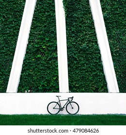 Single speed road bicycle standing in front of the green wall. Fixed gear bike.
