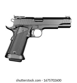 Single Stack 9mm Pistol Isolated on White. Black Carbon Steel 19+1 Walnut Grip Semi-Automatic Handgun. Modern Firearm. Side View of 5 Inches Firearm Gun Caliber 9 mm with 3-Dot Dovetail Sight