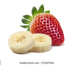Single strawberry and banana pieces isolated on white background as package design element