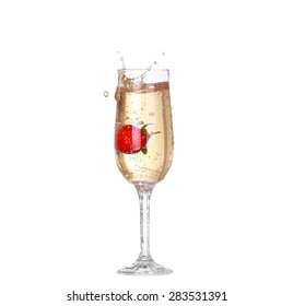 Single Strawberry splashing into a glass of champagne