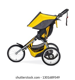 Single Stroller for Runners Isolated on White Background. Yellow Black Travel System with Swivel Front Wheels for Children. Side View Pushchair with Canopy. Infant Carriage Seat. Baby Transport Pram