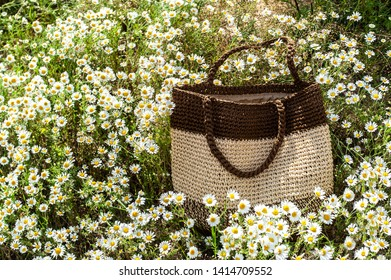 Single  summer beige-brown knitted bag lays within beautiful focused camomile flowers in camomile field, with placeholder