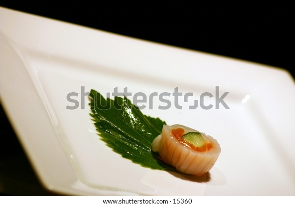 A single sushi on a plate - Sushi Series