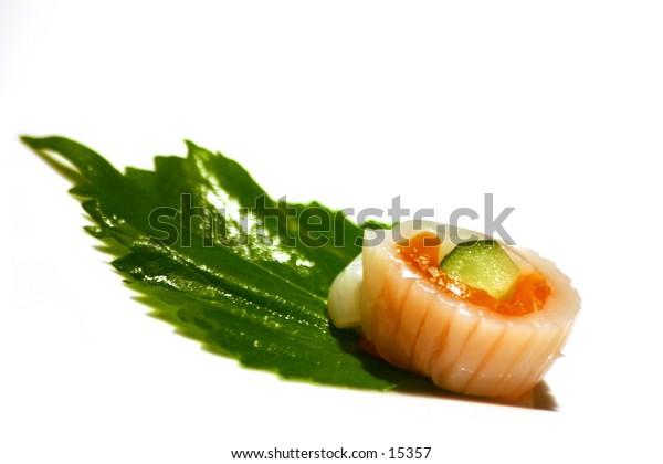 Single Sushi ona  white plate