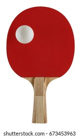 single tablet tennis bat cut out on white background with one ball