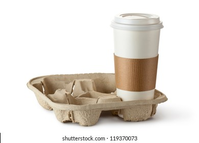 Single take-out coffee in holder. Isolated on a white.