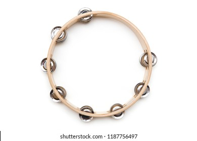 Single  tambourine isolated on the white background