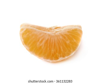 Single tangerine slice isolated