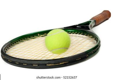 A single tennis racket with a tennis ball