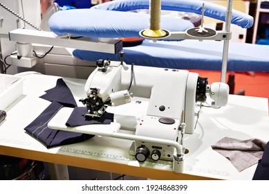 Single thread blindstitch sewing machine in workshop