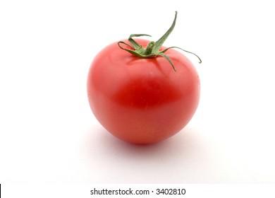 A single tomato, isolated on white