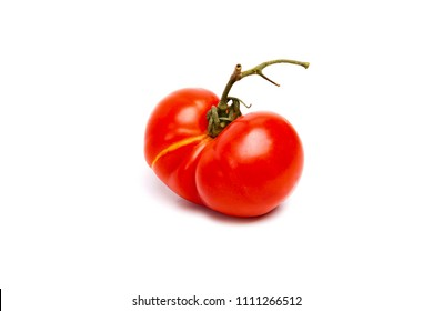 Single tomato is a siamese twins isolated on white background