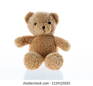 Single toy teddy bear isolated on white background.