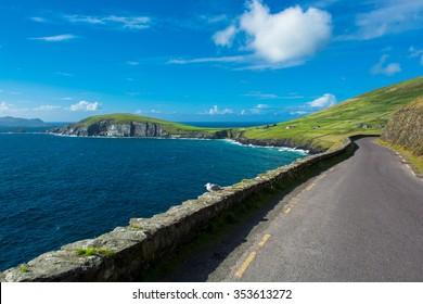 Single Track Coast Road at Slea Head in Ireland