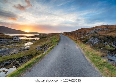 A single track road leading to Luskentyre beach on the Isle of Harris