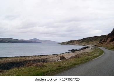 Single track road on the Isle of Jura in Scotland
