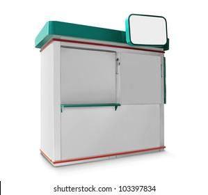 single trade or promo counter kiosk against white background