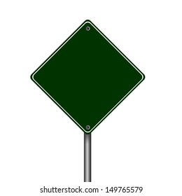 Single traffic sign blank green label
