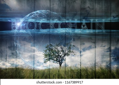 Single tree on imaginative meadow landscape and futuristic Blockchain cyberspace background.