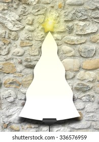 Single tree shaped frame with turned on star on stone wall background