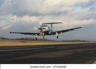Single turboprop aircraft landing on runway, shoted on airport Pribram