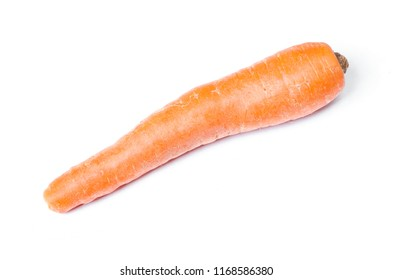 Single ugly carrot isolated on white background