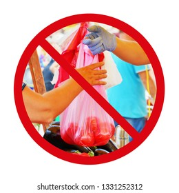 Single use plastic bag ban concept. Vendor and buyer hands hold a disposable plastic bag inside a prohibition sign.