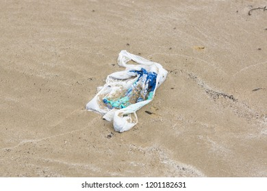 Single use plastic shopping bag washed up on a beach and part buried in the sand an example of the many pieces of garbage in the oceans around the world